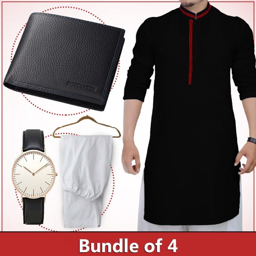Bundle of 4 ( 1 Kurta,1 Shalwar, 1 wallet and 1 watch )
