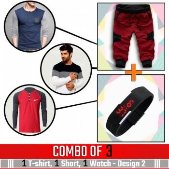 Combo of 3 ( 1 Shirt , 1 Watch , 1 Short ) - Design 2