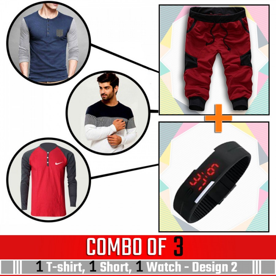 Combo of 3 ( 1 Shirt , 1 Watch , 1 Short ) - Design 2