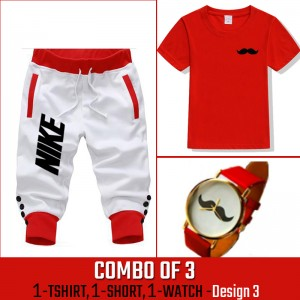 Combo of 3 ( 1 Shirt , 1 Watch , 1 Short ) ( Design-3) - White