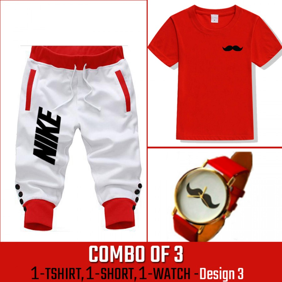 Combo of 3 ( 1 Shirt , 1 Watch , 1 Short ) ( Design-3) - White
