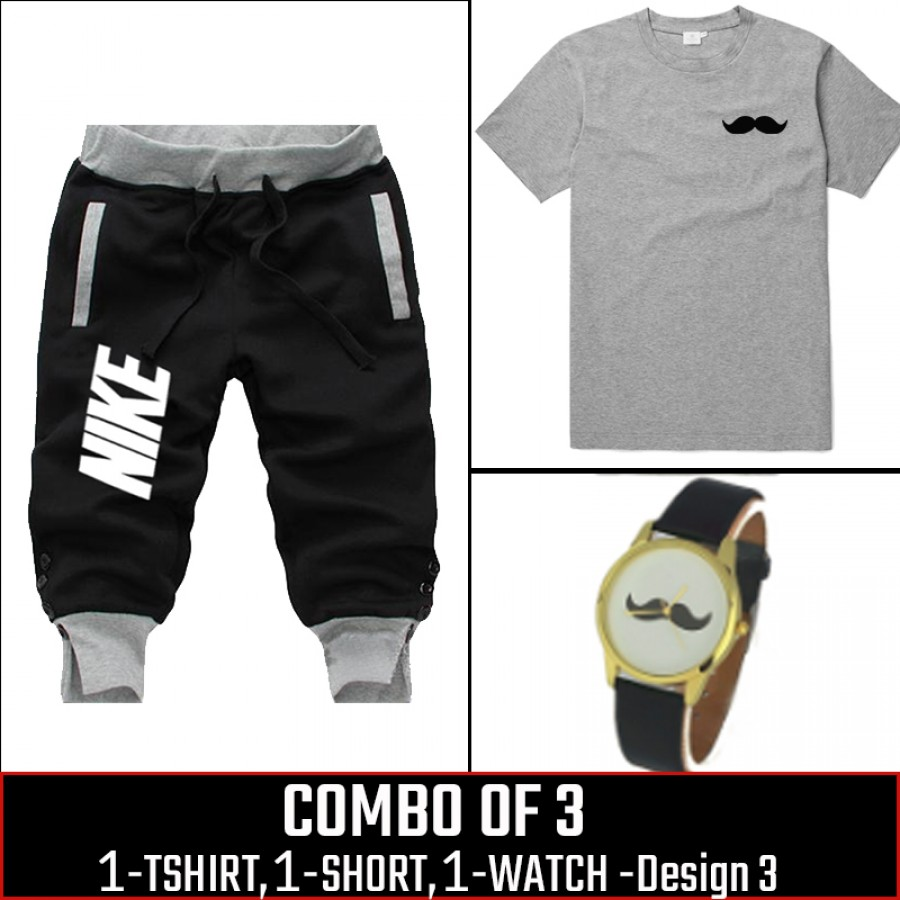 Combo of 3 ( 1 Shirt , 1 Watch , 1 Short ) (Design-3) - Black