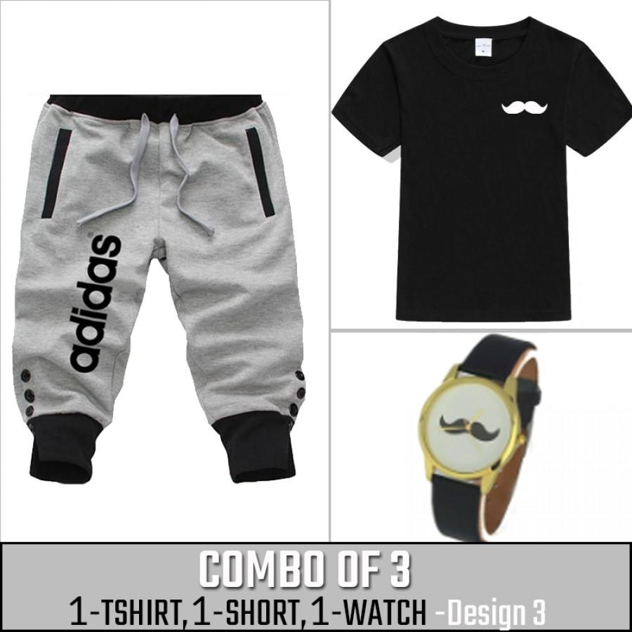 Combo of 3 ( 1 Shirt , 1 Watch , 1 Short ) ( Design-3) - Gray