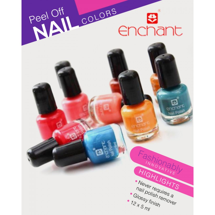 PACK OF 12 ENCHANT PEEL OFF NAIL POLISH