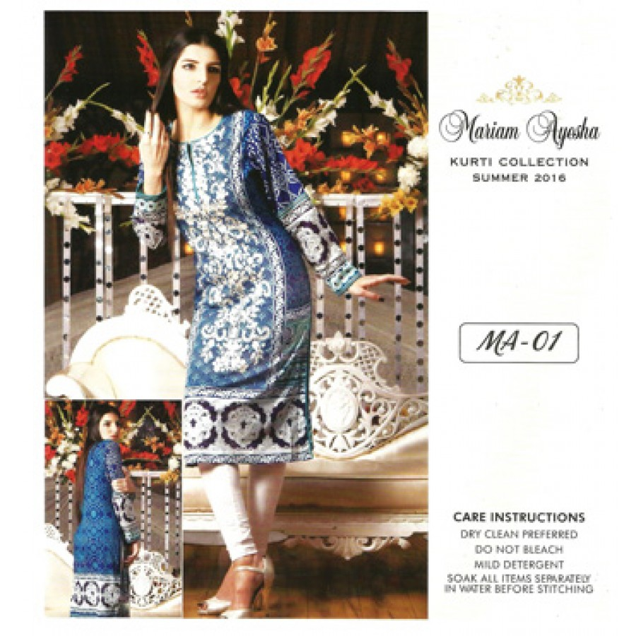 Mariam Ayesha Embroidered Kurti Collection 2016 Design 1