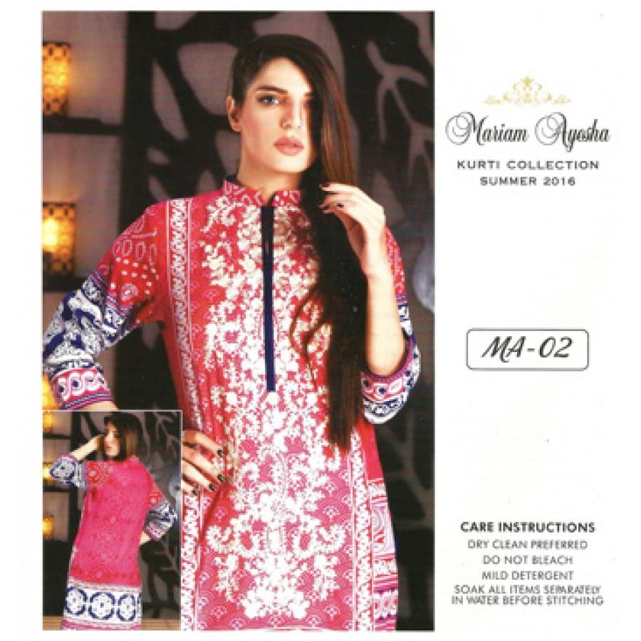 Mariam Ayesha Embroidered Kurti Collection 2016 Design 2