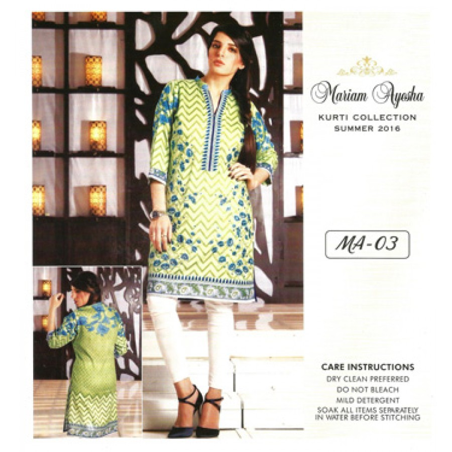 Mariam Ayesha Embroidered Kurti Collection 2016 Design 3