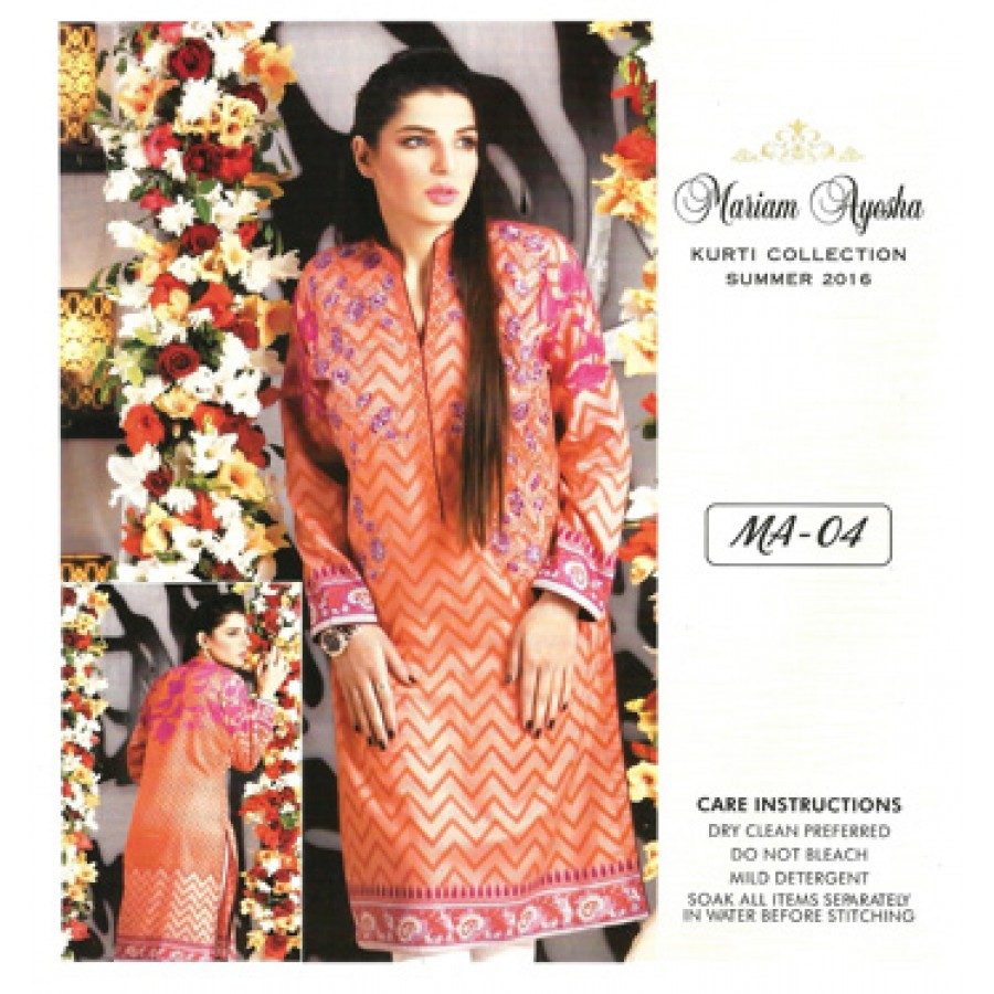 Mariam Ayesha Embroidered Kurti Collection 2016 Design 4
