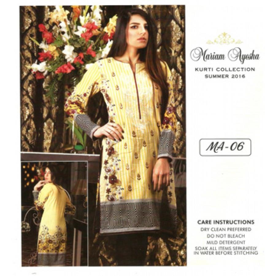Mariam Ayesha Embroidered Kurti Collection 2016 Design 6