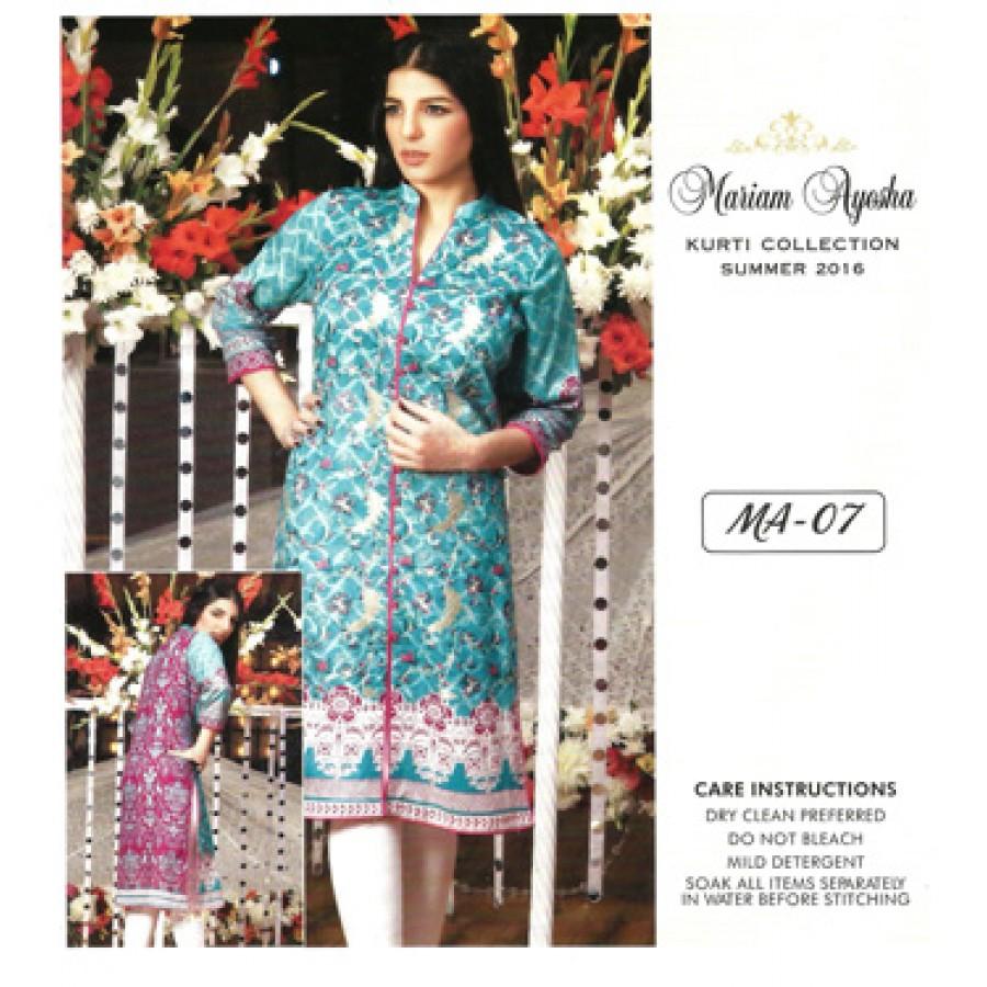 Mariam Ayesha Embroidered Kurti Collection 2016 Design 7