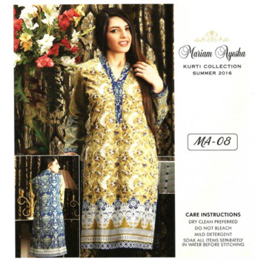 Mariam Ayesha Embroidered Kurti Collection 2016 Design 8