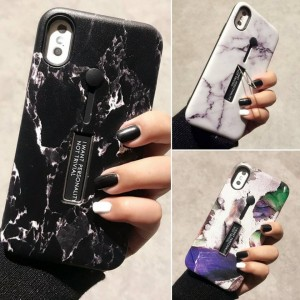 PK013 Marble design printed case with holder  Marble design printed pattern case with finger holder for good support