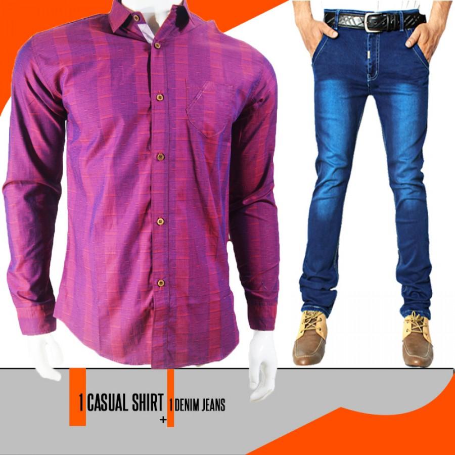 1 Denim Jeans + 1 Casual Shirt