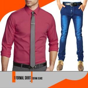 1 Denim Jeans + 1 Formal Shirt