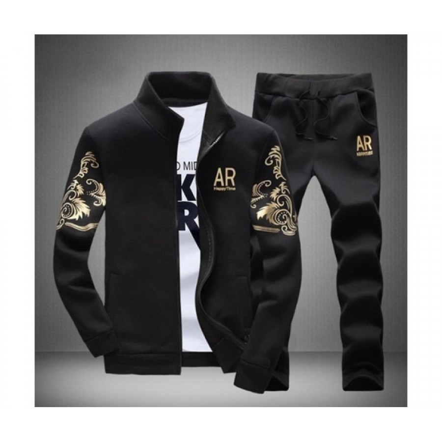 Black Stylish Track Suit For Men - Design 18