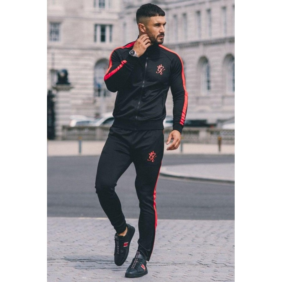 Black GK Multi color Fleece Winter 2020 Track Suit with Jacket and Trouser for Men - Design 1