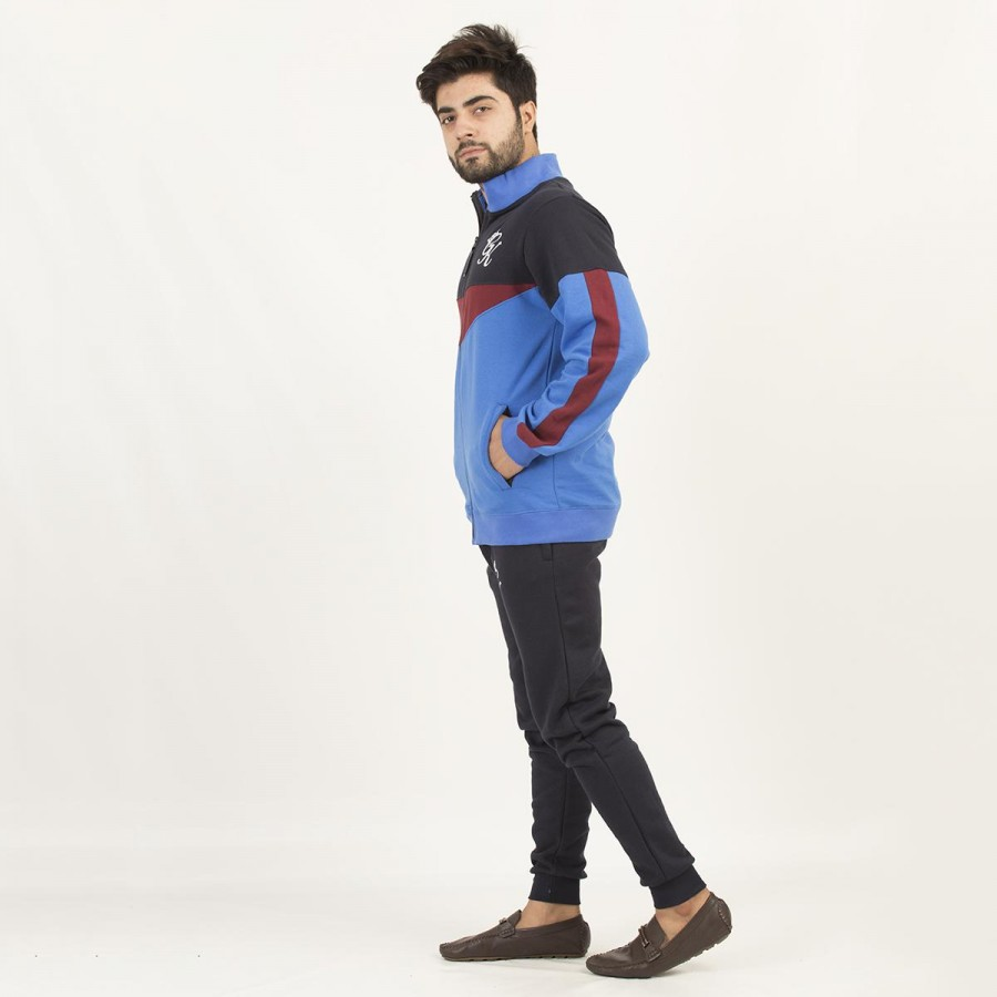 Blue GK Multicolour Fleece Winter Designer 2020 Track Suit with Jacket and Trouser for Men - Design 3