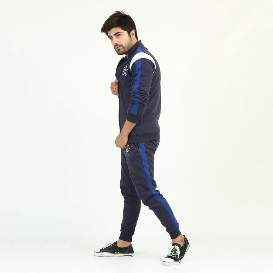 Blue GK Multicolour Fleece Winter Designer 2020 Track Suit With Jacket And Trouser For Men - Design 4