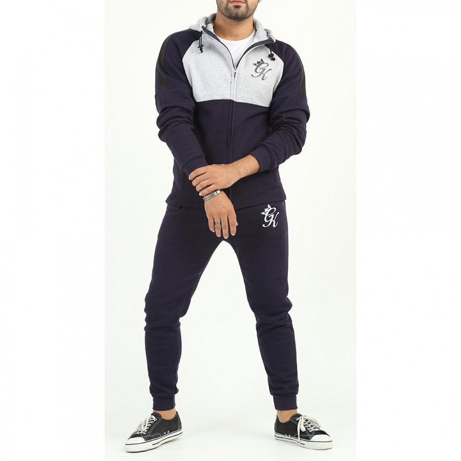 Blue GK Multicolour Fleece Winter Designer 2020 Track Suit With Jacket And Trouser For Men - Design 5