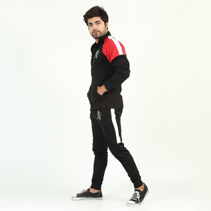 Black GK Multicolour Fleece Winter Designer 2020 Track Suit With Jacket And Trouser For Men - Design 6
