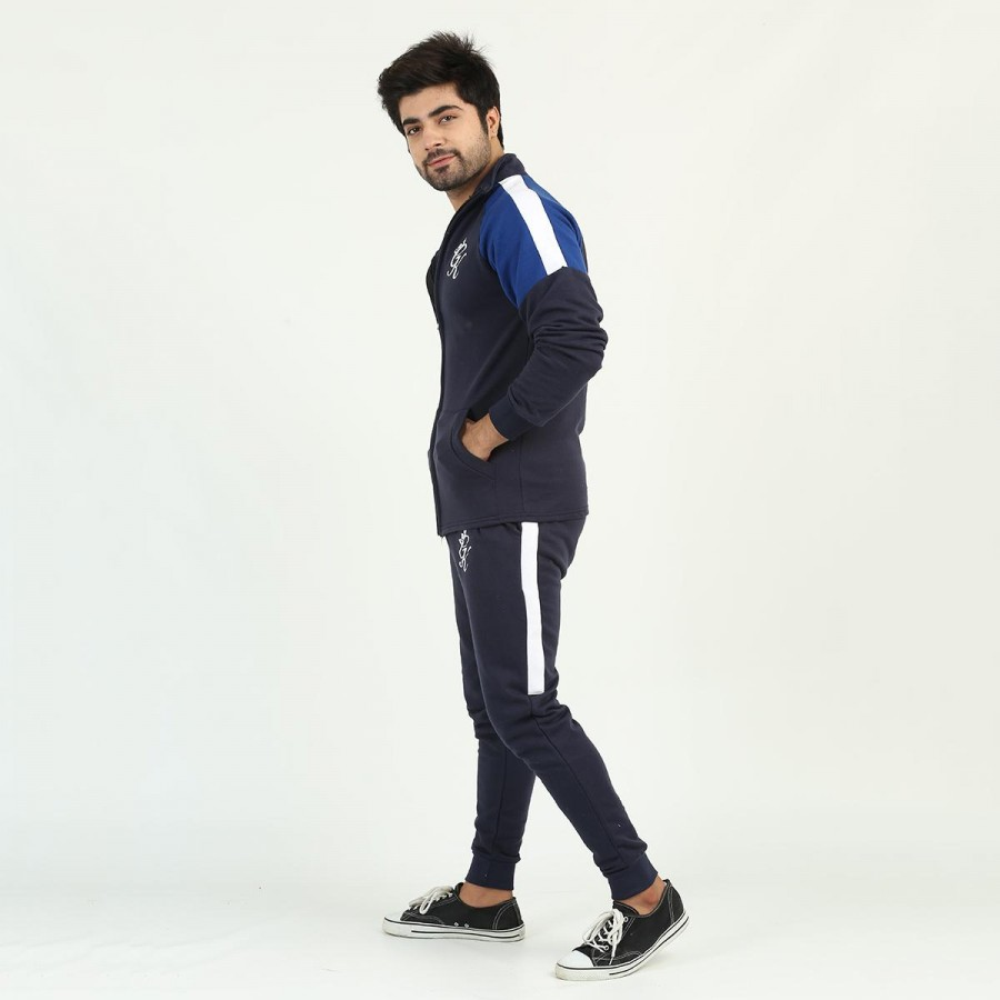 Blue GK Multicolour Fleece Winter Designer 2020 Track Suit With Jacket And Trouser For Men - Design 6