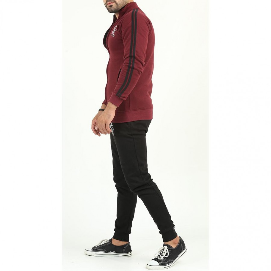 Maroon GK Multicolour Fleece Winter Designer 2020 Track Suit With Jacket And Trouser For Men - Design 7