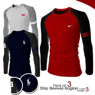 Pack of 3 Strip Sleeves Raglan T-shirt Design 3