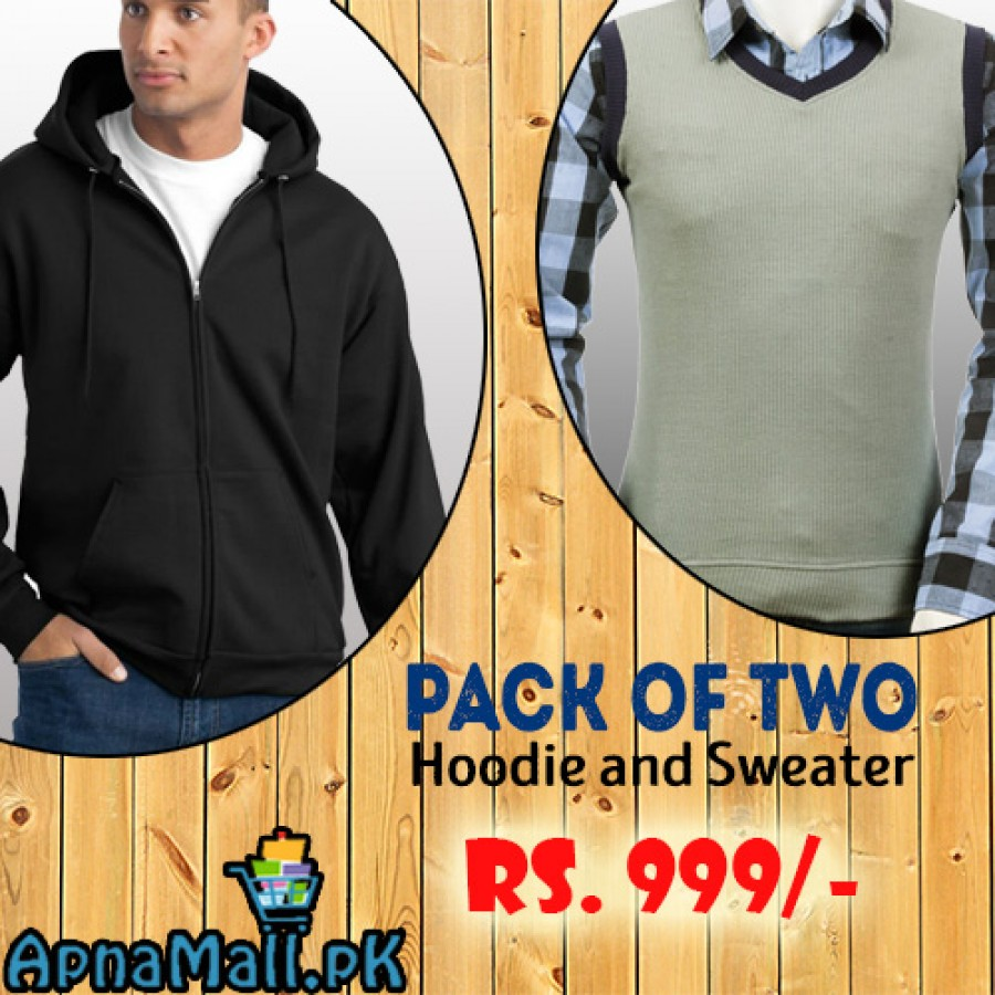 Pack of 2 (Black Hoodie and Gray Sweater)
