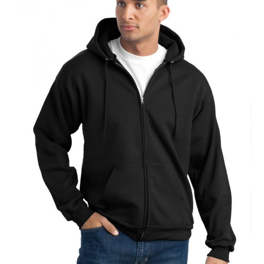 Elegant Black Full Sleeves Zipper Hoodie