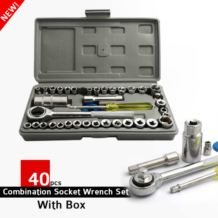 40pcs Combination Socket Wrench Set With Box
