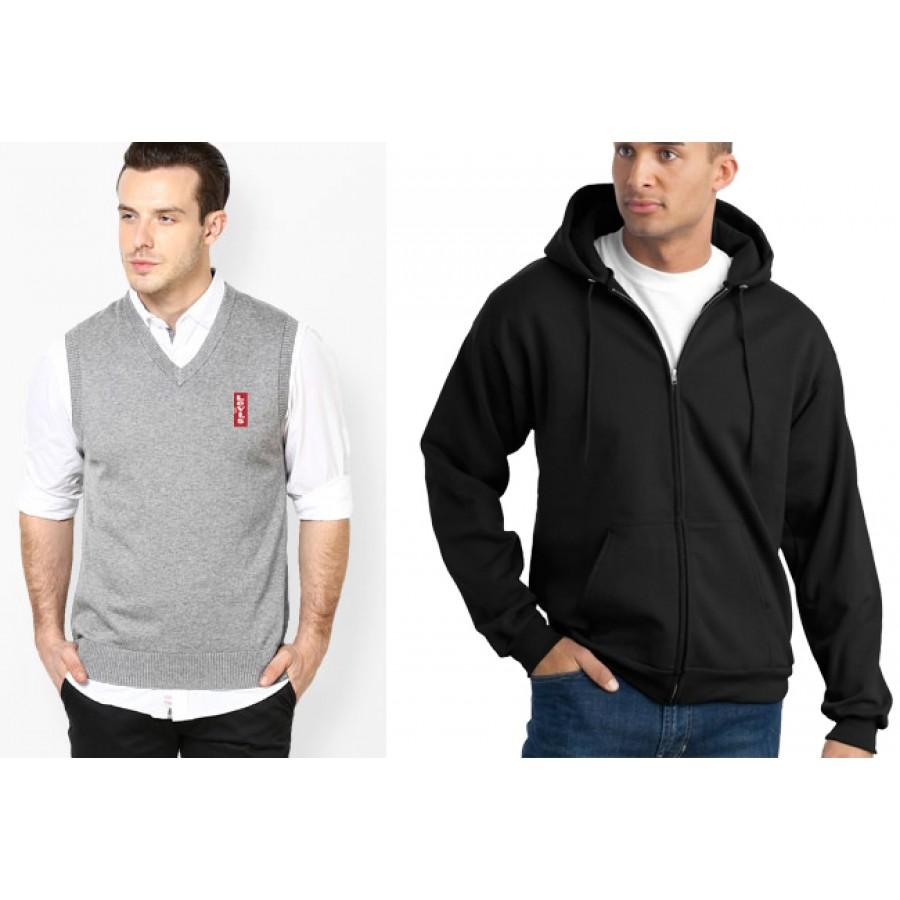 Elegant Zipper Hoodie With Levis Sleeveless Sweater