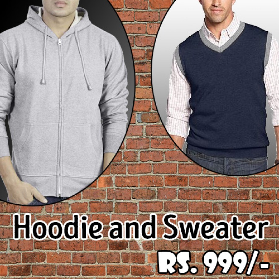 Pack of 2 (Gray Hoodie and Navy Blue Sweater)