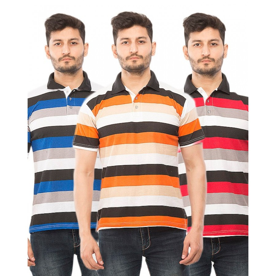 Pack of 3  Half Sleeves Yarn Dyed Polo T-Shirts