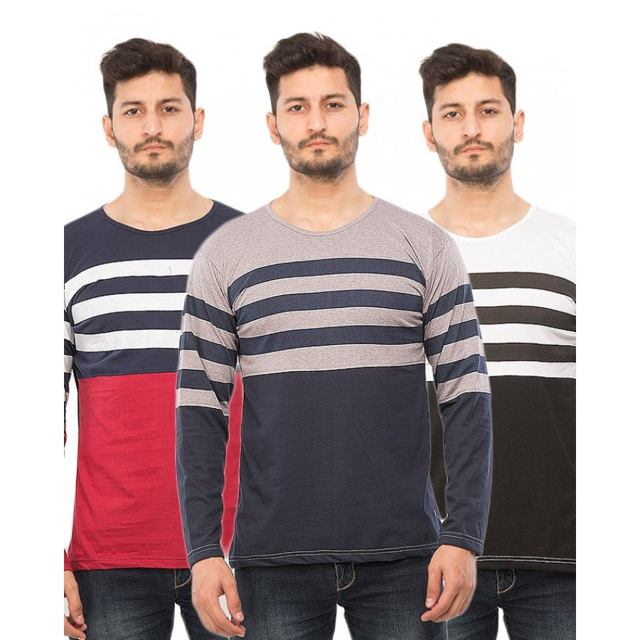 Pack of 3  Round Neck Full Sleeves Half Body Yarn Dyed T-Shirts