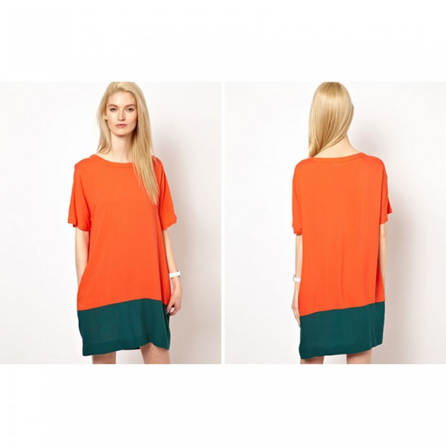 Orange Color Baggy Sleeves Tunic