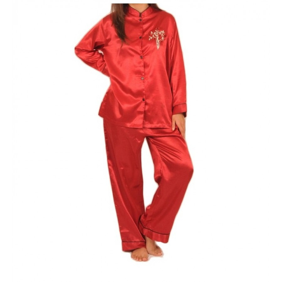 Valerie Ivory Solid Polyester Floral Pajama Set For Women