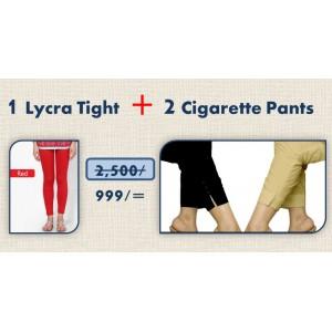 2 Cigarette Pants + 1 Lycra Tight