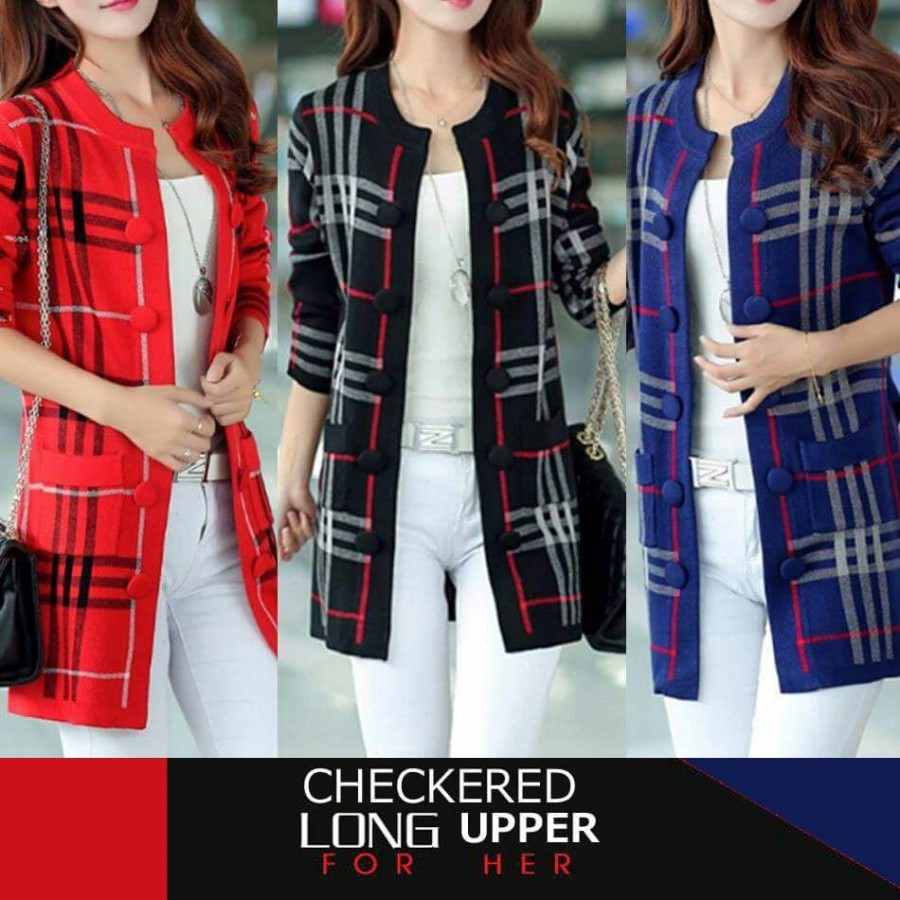 Checkered Long Upper For Her
