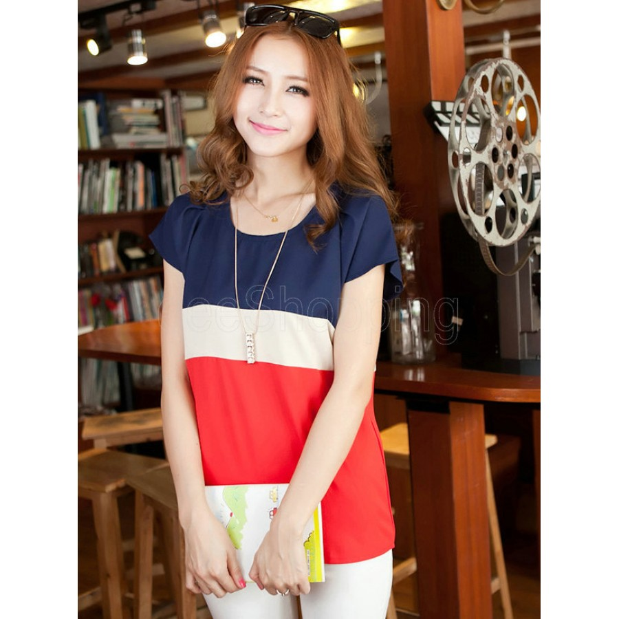 Ladies Splicing Patchwork Chiffon Short Sleeve T-shirt