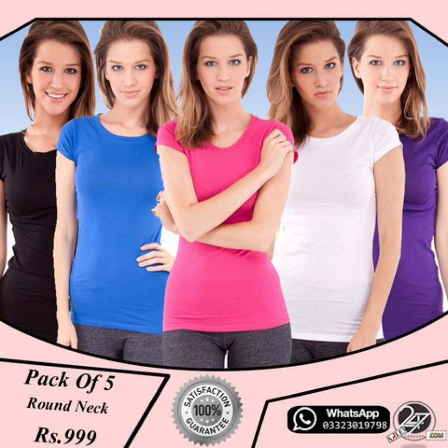 PACK OF 5 ROUND NECK LADIES T SHIRTS