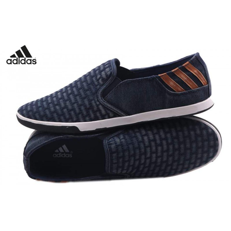 Adidas Blue Suede Back Striped Loafer Shoes AD2