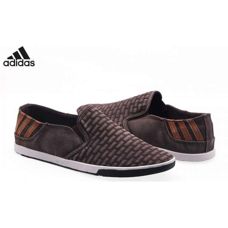 Adidas Brown Suede Back Striped Loafer Shoes AD3