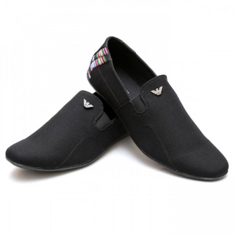 Giorgio Armani Black Half Checkered Stylish Design Loafer Shoes G4
