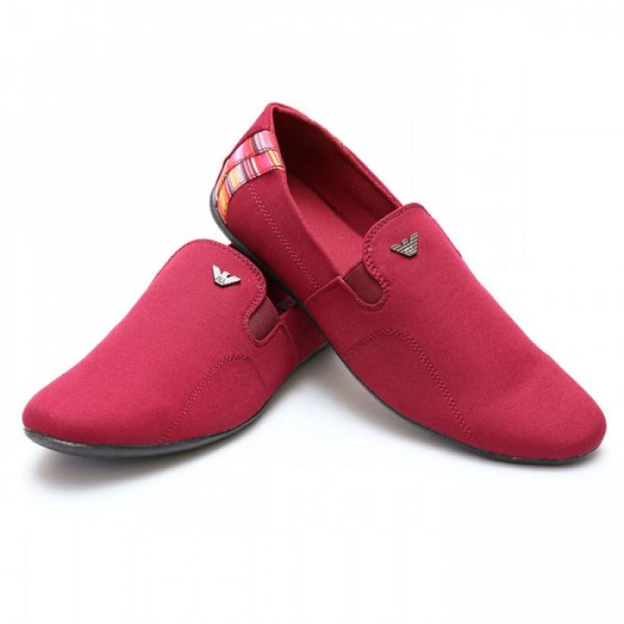 Giorgio Armani Maroon Half Checkered Stylish Design Loafer Shoes G5