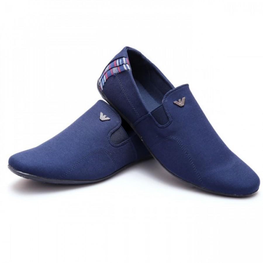 Giorgio Armani Blue Half Checkered Stylish Design Loafer Shoes G6