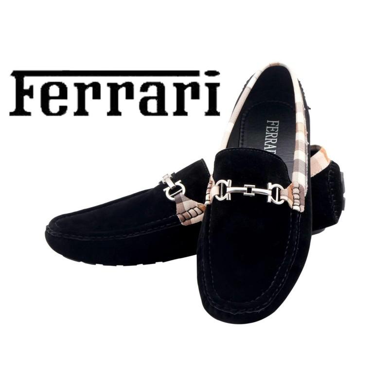 Ferrari Men Black and Copper Shoes F10