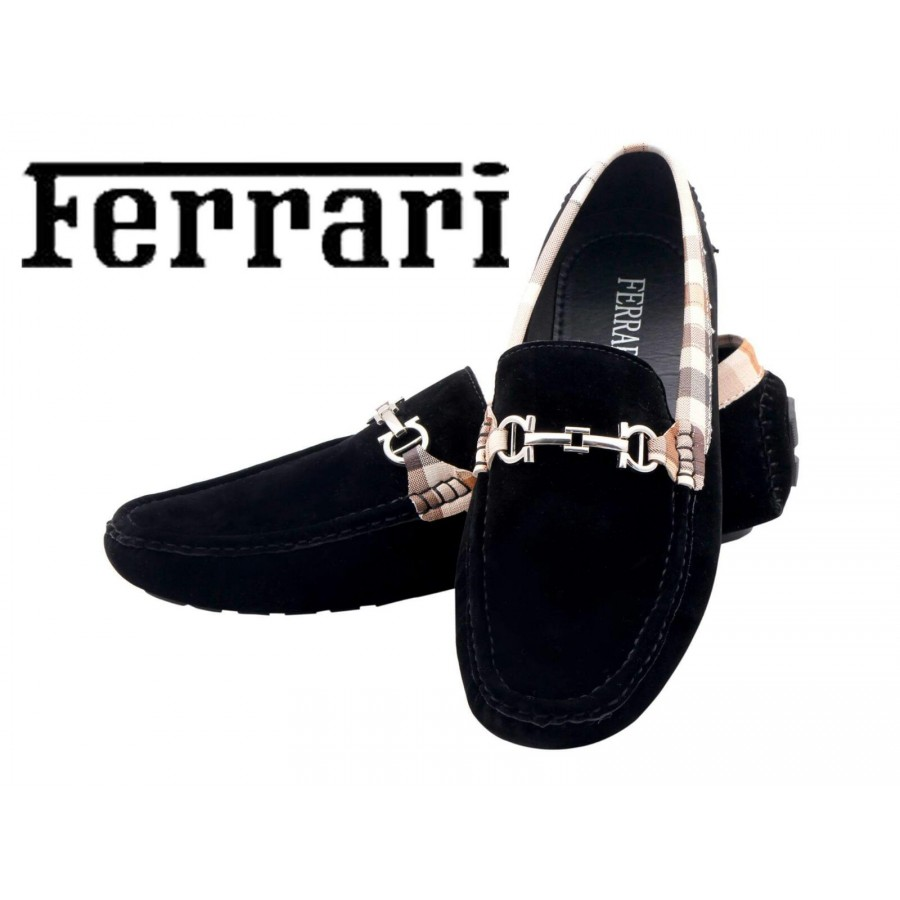 Ferrari Men Black and Copper Shoes F10
