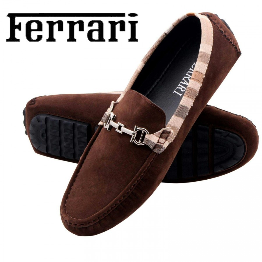 Ferrari Men Brown and Copper Shoes F1