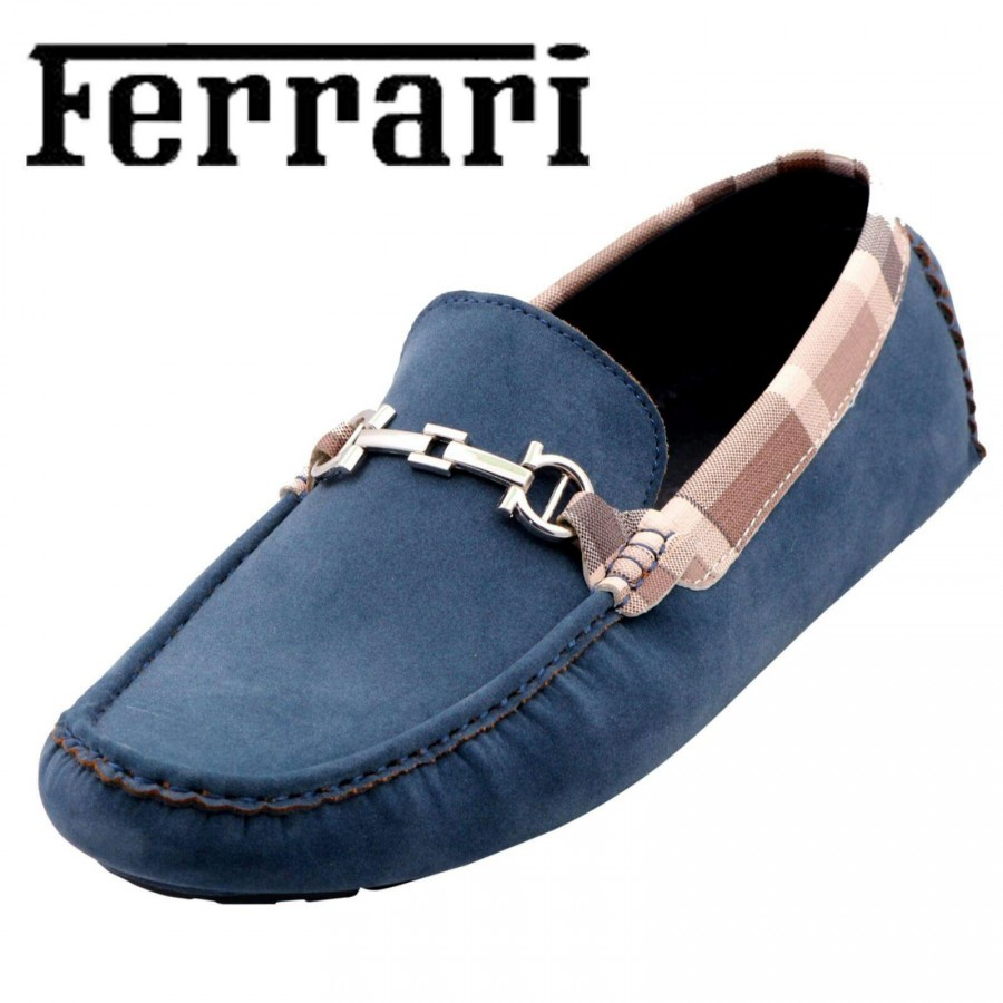 Ferrari Men Blue and Copper Shoes F9