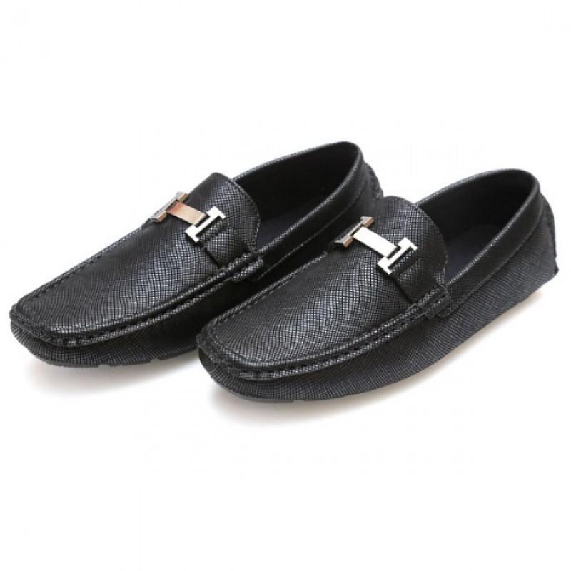 Hermes Black Stitched Stylish Design Loafer Shoes H1